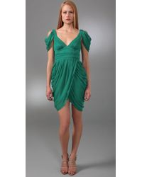 Catherine Malandrino - Green Smocked Waist Dress - Lyst