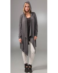 C&C California | Gray Draped Hooded Cardigan | Lyst