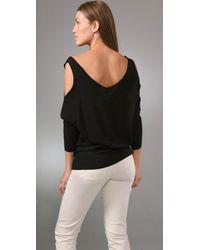 Halston - Gray Open Shoulder Oversized Sweater - Lyst