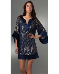 Halston - Blue Jacquard Dress - Lyst