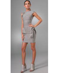 Hervé Léger | Gray Layered Bandage Dress | Lyst