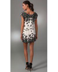 Lela Rose - White Floral-appliqué Silk Dress - Lyst