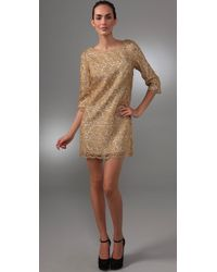 MILLY | Metallic Lace Shift Dress | Lyst
