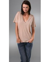 Monrow | Natural Oversized V Neck Tee | Lyst