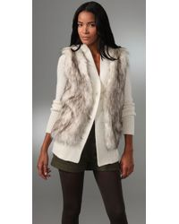 Rebecca Taylor - Natural Faux Fur and Knit Cardigan - Lyst