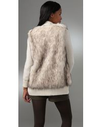 Rebecca Taylor | Natural Faux Fur and Knit Cardigan | Lyst