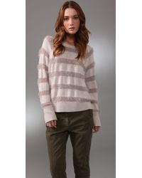Rebecca Taylor - Natural Sparkle & Stripes Sweater - Lyst