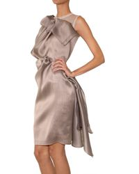 ROKSANDA | Brown Draped Silk Organza Dress | Lyst