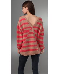 See By Chloé - Red Striped Oversize Pullover - Lyst