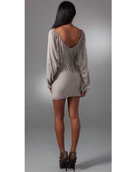 Sheri Bodell - Gray Batwing Fringe Sweater Dress - Lyst