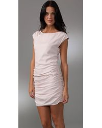 Shoshanna - Pink Ruched Silk Shift Dress - Lyst