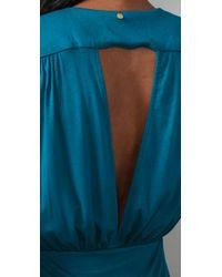 T-bags - Blue Deep V Open Back Dress - Lyst