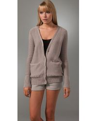 T By Alexander Wang | Gray Knit Cardigan | Lyst