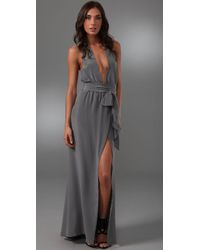 Thayer | Gray Long Halter Dress | Lyst