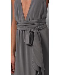 Thayer - Gray Long Halter Dress - Lyst