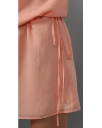 Thread Social - Pink Ruffled Shoulder Dress - Lyst