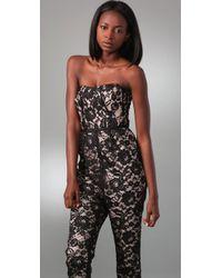 Tibi - Black Chantal Lace Strapless Jumpsuit - Lyst
