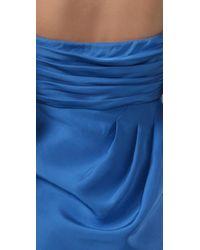 Tibi | Blue Beaded Dupioni Strapless Dress | Lyst