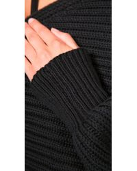 Alexander Wang - Black Asymmetrical Cropped Pullover Sweater - Lyst