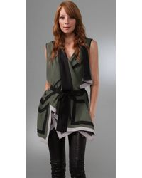 BCBGMAXAZRIA | Green Geometric Cutout Top | Lyst