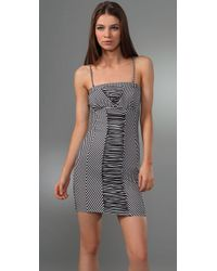 Free People | Gray Sailor Stripe Strapless Dress | Lyst