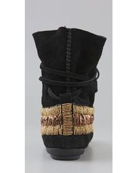 House of Harlow 1960 - Black Maddie Beaded Suede Moccasin Booties - Lyst