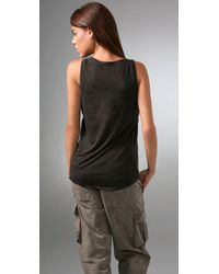 James Perse - Brown Henley Boxy Tank - Lyst
