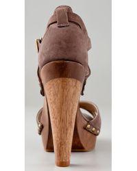 Schutz - Brown Clog Platform Sandals - Lyst