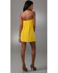 Tibi | Yellow Strapless Dress | Lyst