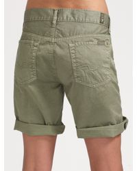 7 For All Mankind | Green Rolled Cotton Shorts | Lyst