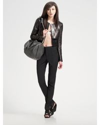 Alexander Wang | Black Cropped Leather Jacket | Lyst