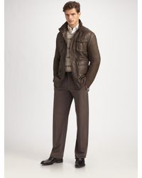 Armani | Gray Leather Field Jacket for Men | Lyst