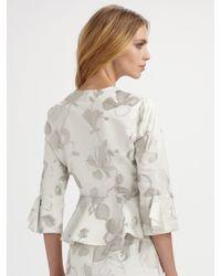 Armani - Natural Floral Taffeta Blouse Jacket - Lyst