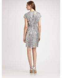 Badgley Mischka | Metallic Sequin V-neck Cocktail Dress | Lyst