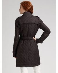 Burberry Brit | Black Trench-style Quilted Coat | Lyst