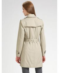 Burberry Brit - Green Double-breasted Trench Coat - Lyst