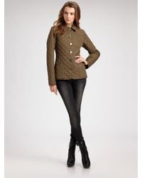 Burberry Brit | Green Quilted Single-breasted Jacket | Lyst