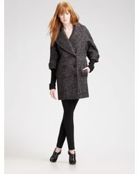 Burberry | Gray Double-breasted Tweed Coat | Lyst