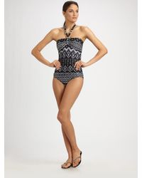 Carmen Marc Valvo | Black Printed One-piece Swimsuit | Lyst