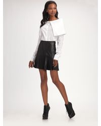 Catherine Malandrino | Black Pleated Leather Skirt | Lyst