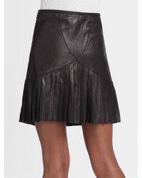 Catherine Malandrino - Black Pleated Leather Skirt - Lyst