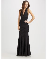 Catherine Malandrino | Black Pleated Ruffle Halter Dress | Lyst