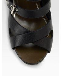 Current/Elliott - Black Cropped Side-zip Leather Leggings - Lyst