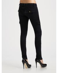 Current/Elliott - Blue Skinny Seamed Cargo Jeans - Lyst
