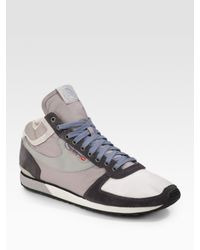DIESEL - Gray High Pass Mid-top Sneakers for Men - Lyst