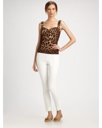 Dolce & Gabbana | White Stretch Cotton High Waisted Pants | Lyst