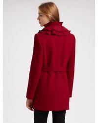 Elie Tahari | Red Drew Ruffle Coat | Lyst