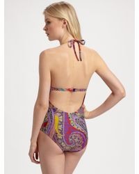 Etro - Red Paisley One-piece Swimsuit - Lyst