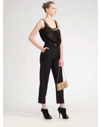 Fendi - Black Pleat-trim Cropped Pants - Lyst