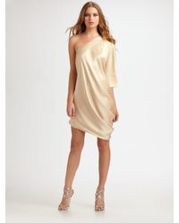 Halston | Metallic One-sleeve Drape Dress | Lyst